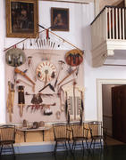 Entrance Hall with display of recreated Native American artifacts on southeast wall