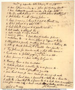 James Dinsmore's List of Thomas Jefferson's Tools (recto)