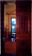 Decorative Wood Double Door from Entrance Hall to Parlor