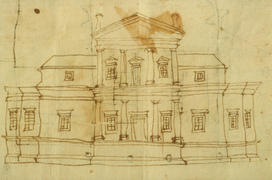 Jefferson's freehand elevation of First Monticello