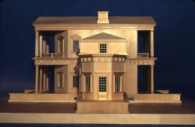 Scale model of First Monticello showing the southeast side