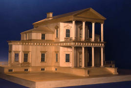 Scale model of First Monticello Main House viewing from the west