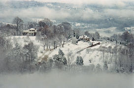 View of Monticello from Montalto in Winter