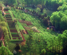 Aerial View of the Vegetable Garden Terrace, South Orchard, and Vineyards