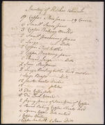 Page 1, February 20, 1796 Inventory of Kitchen Utensils at Monticello by James Hemings